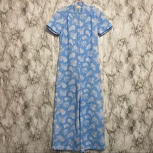 Vintage Light Blue & White Filgree Jumpsuit